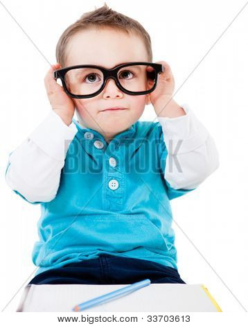 Young geeky student wearing big glasses - isolated over white