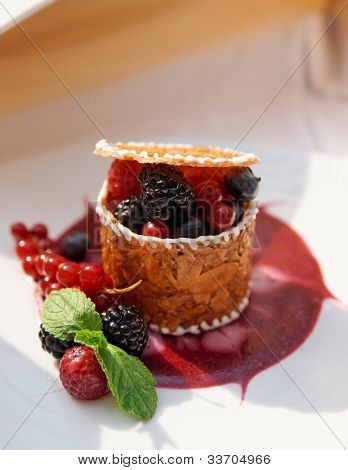 Berry dessert on plate, cloe-up