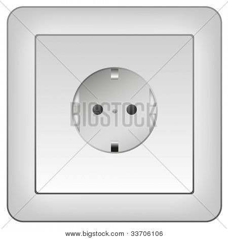 electrical outlet isolated on white commonly found in europe
