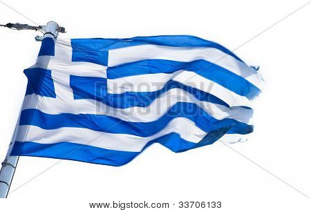 Greek flag on white background