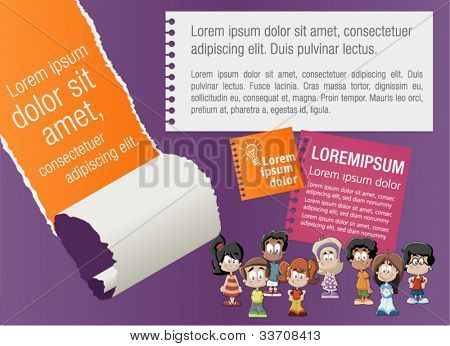 Colorful template for advertising brochure with children