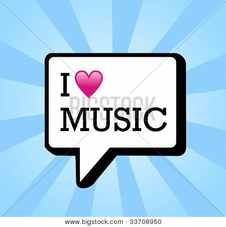 I Love Music Background Illustration