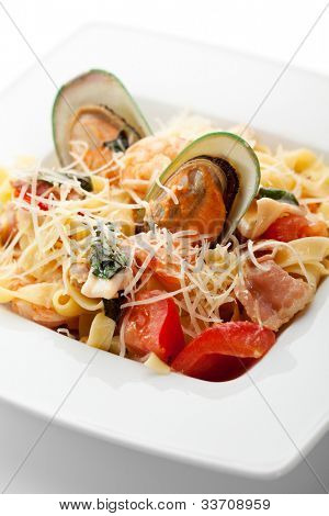 Pasta - Linguine with Seafood and Parmesan Cheese