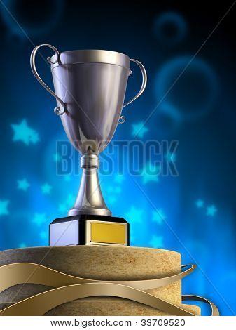 Metal cup on a pedestal. Digital illustration.