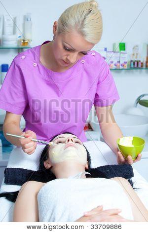 Spa Organic Facial Mask Application at Day Spa Salon