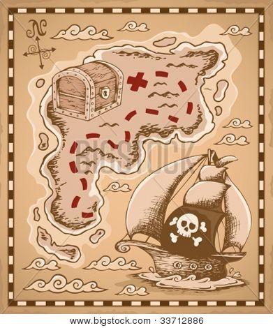 Treasure map theme image 1 - vector illustration.