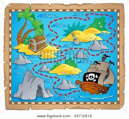 Treasure map theme image 3 - vector illustration.
