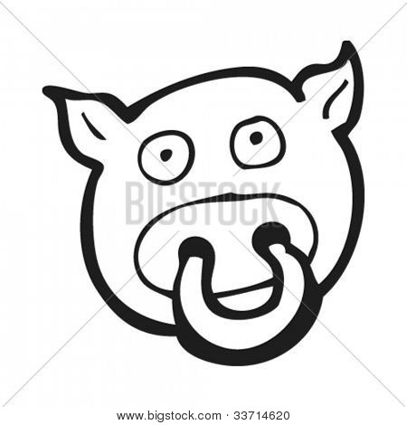 cartoon pig with ring in nose