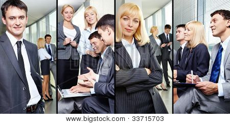 Collage of businesspeople working in group and business leaders