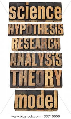 science related terms - a collage of isolated words in vintage letterpress wood type - hypothesis, research, analysis, theory, model