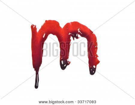 Dripping slashed blood fonts the letter lower case m
