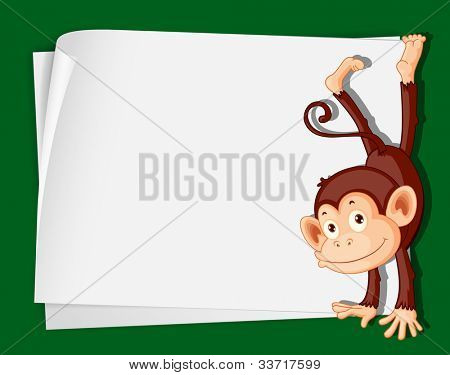 Illustration of a comical monkey on paper - EPS VECTOR format also available in my portfolio.