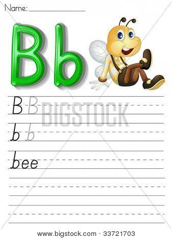 Alphabet worksheet on white paper