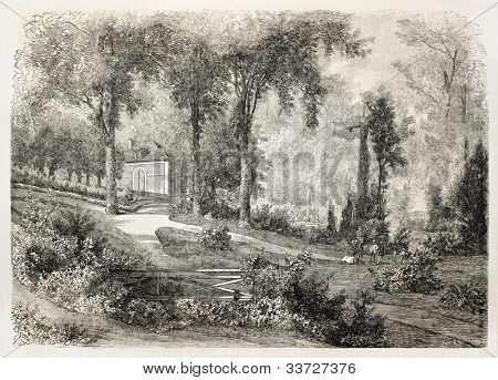 Paul Gavarni (1804-1866) house in Paris, surrounded by garden. Gavarni was a French drawer, watercolourist and caricaturist;Published on L'Illustration, Journal Universel, Paris, 1863