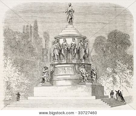 Camillo Benso di Cavour project monument, Turin, Italy (unrealized). Published on L'Illustration, Journal Universel, Paris, 1863