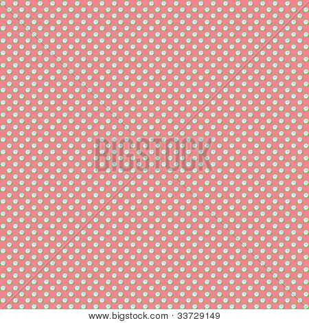 Seamless pattern with small blue roses on red background