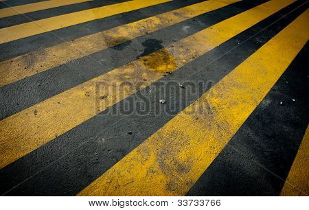 Dirty Provisional yellow pedestrian crossing
