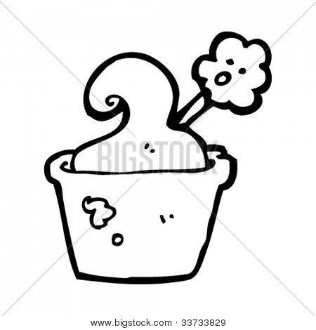 cartoon overheated flower in pot