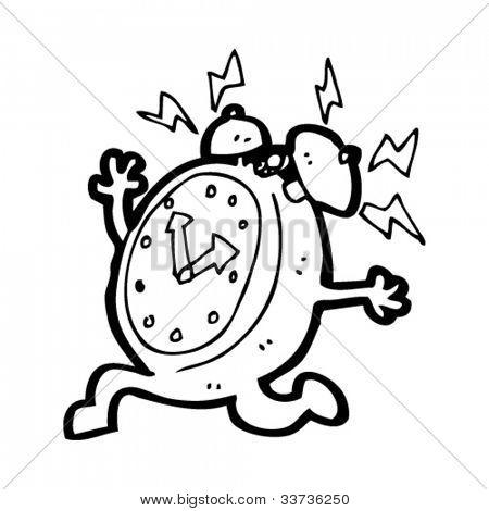 cartoon ringing alarm clock character