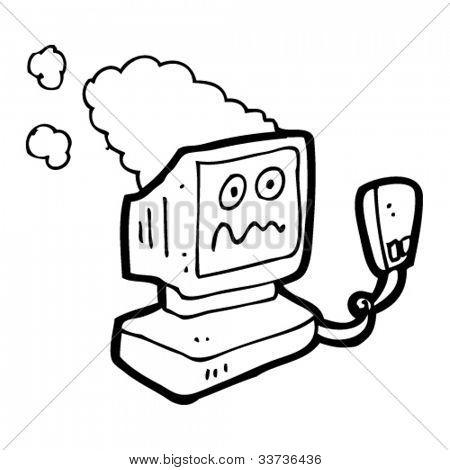 cartoon overheating computer