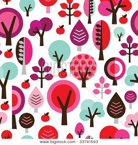 Seamless retro tree apple leaf branch background pattern in vector