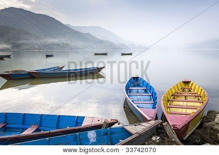Boats On Fewa Lake In Pokhara