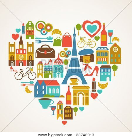 Pars love - vector illustration with set of icons