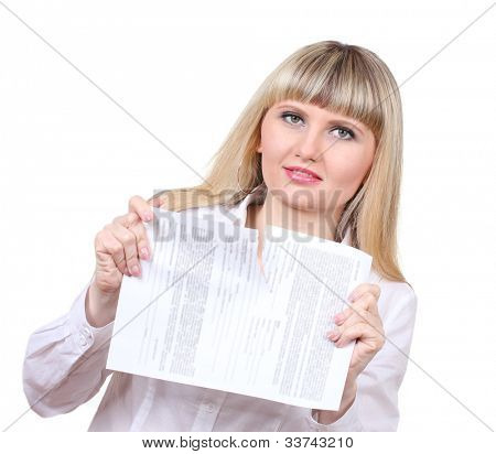 Young woman ripping paper isolated on white