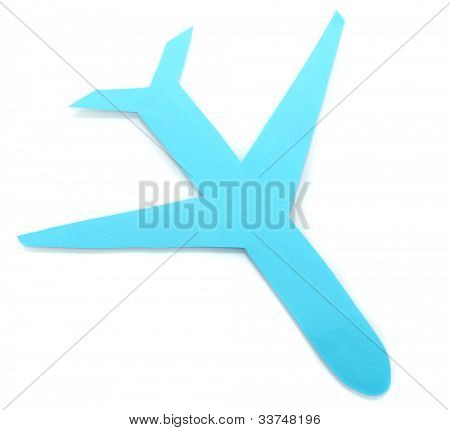 Paper airplane isolated on white