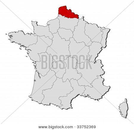 Map Of France, Nord-pas-de-calais Highlighted