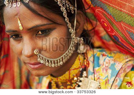 ein Porträt der schönen Inderin, Rajasthan, Indien