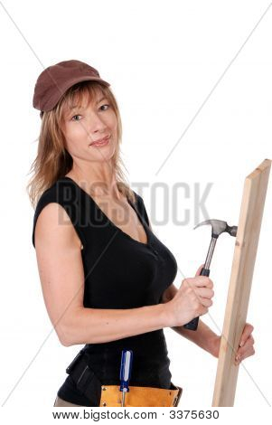 Female Construction Worker Hammering