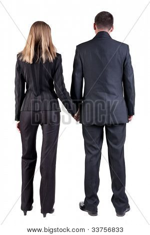 Back view of  business team look. young couple (man and woman). beautiful friendly girl and guy in suit together. Rear view people collection. backside view of person. Isolated over white background