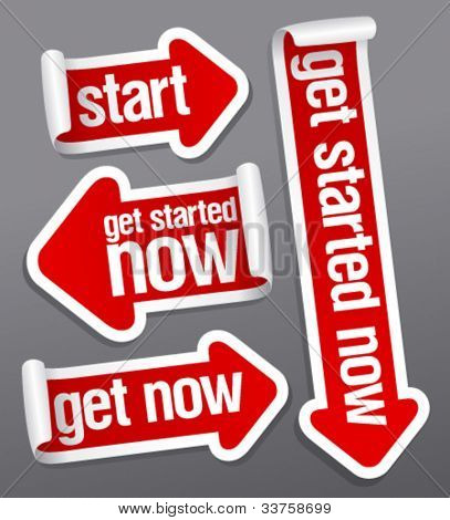Get started now stickers set.