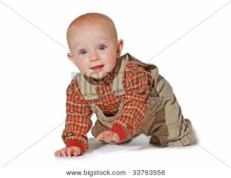 Cute Alert Baby Crawling Towards The Camera