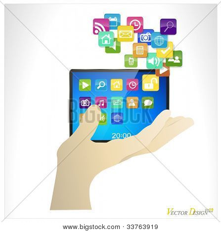 Business man holding the modern digital tablet pc with cloud of colorful application. Vector illustration.