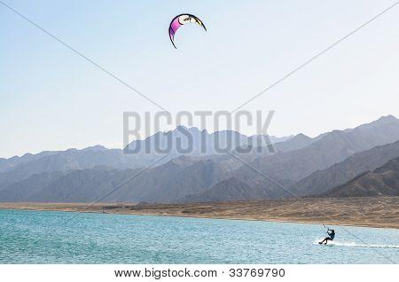 kitesurfer in lagoon