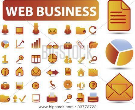 web business icons set, vector