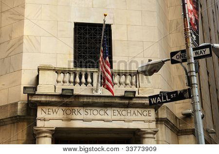 NEW YORK CITY - MAY 16: New York Stock Exchange May 16, 2012 in New York, NY. The NYSE is the largest exchange in the world by market capitalization.
