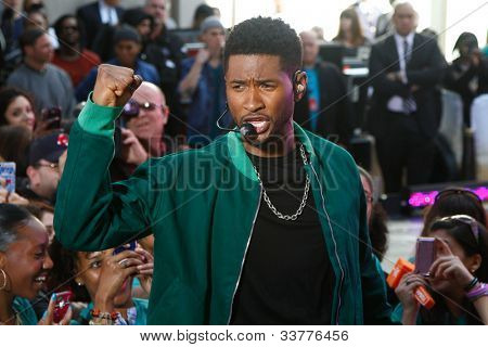 NEW YORK-MAY 18: Singer Usher performs on the Today Show concert series at Rockefeller Plaza on May 18, 2012 in New York City.