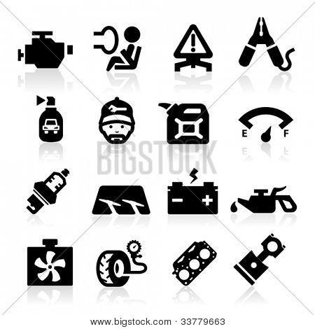 Cart parts icons set  Elegant series