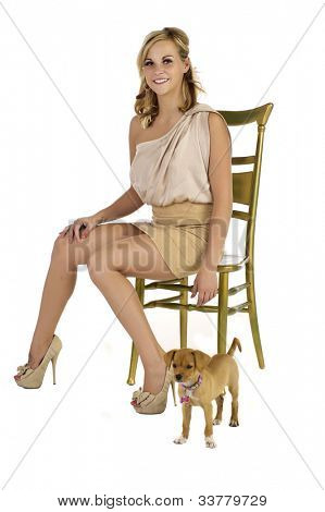 Blonde Sitting With Dog