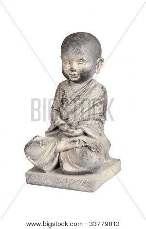 Statue of young Buddha isolated over white with clipping path