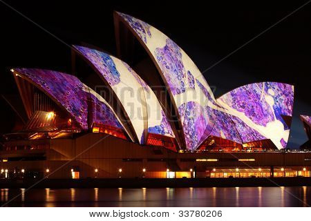 Sydney Opera House Illuminated During Vivid Festival