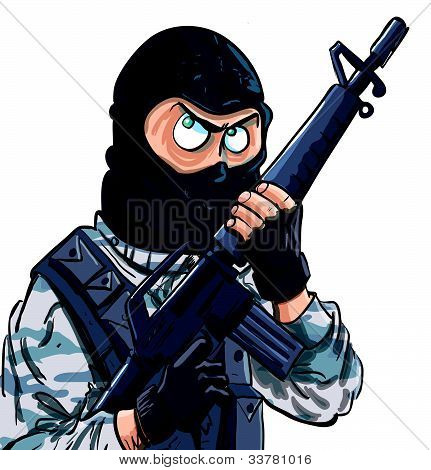 Cartoon SWAT member with a gun. Isolated on white