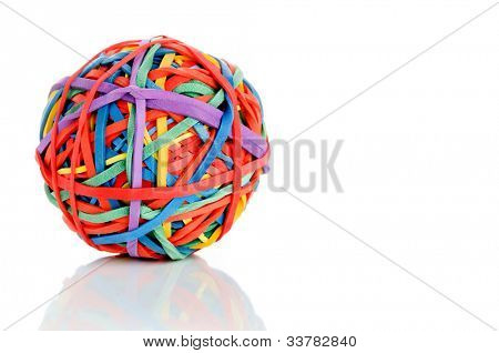 Elastic rubber band on white