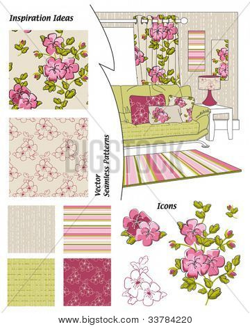 Vector Floral Seamless Patterns.  Great for textile projects or digital paper for scrap booking or website elements such as wallpaper.  Use the interior sketch to create your own look.