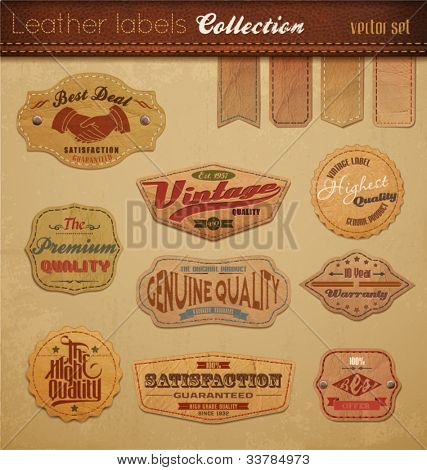 Leather Labels Collection. Vector Illustration.