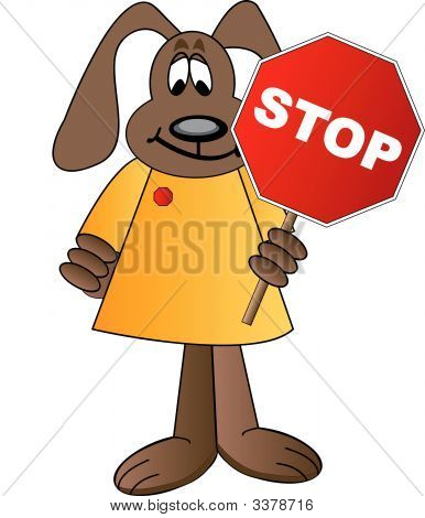 Dog Cartoon Holding Stop Sign.