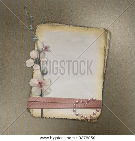 Grunge Papers Design In Scrapbooking Style With Flower